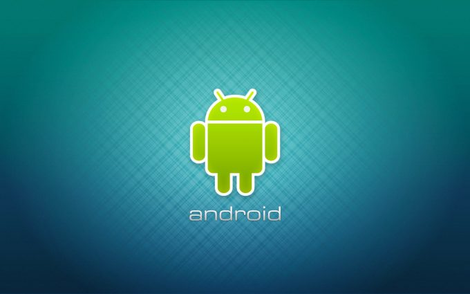 Green Android Logo On Blue Background