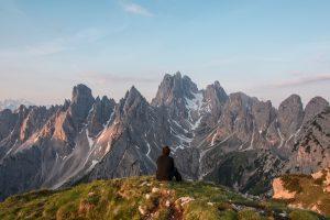 Man Contemplating Mountains