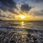 Ocean Horizon At Sunset