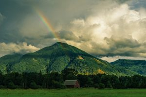Rainbow On A Green Mountain