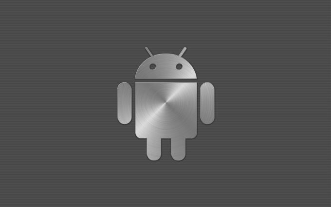 Steel Android Logo On Grey Background