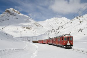 The Bernina Express In The Snow HD