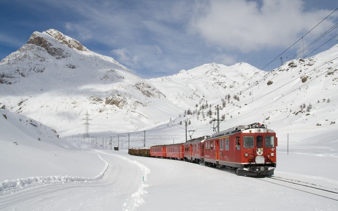 The Bernina Express In The Snow