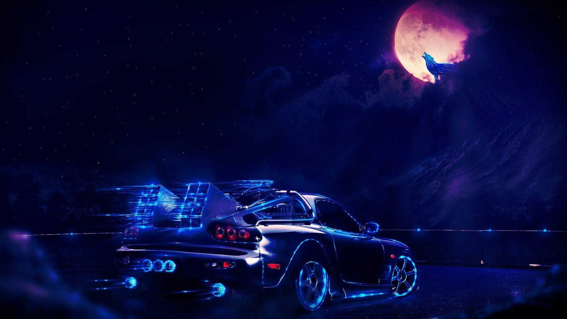 Back To The Future Delorean At Night Hd Wallpaper