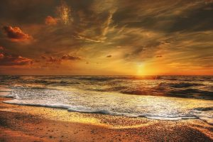 Beautiful North Sea Beach At Sunset HD