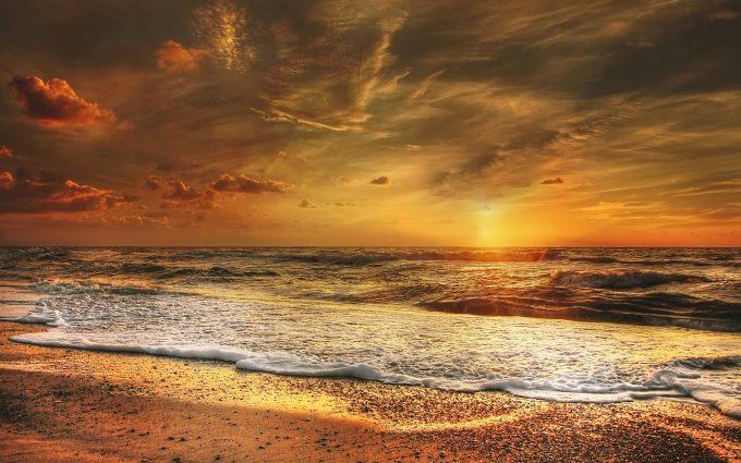 Beautiful North Sea Beach At Sunset
