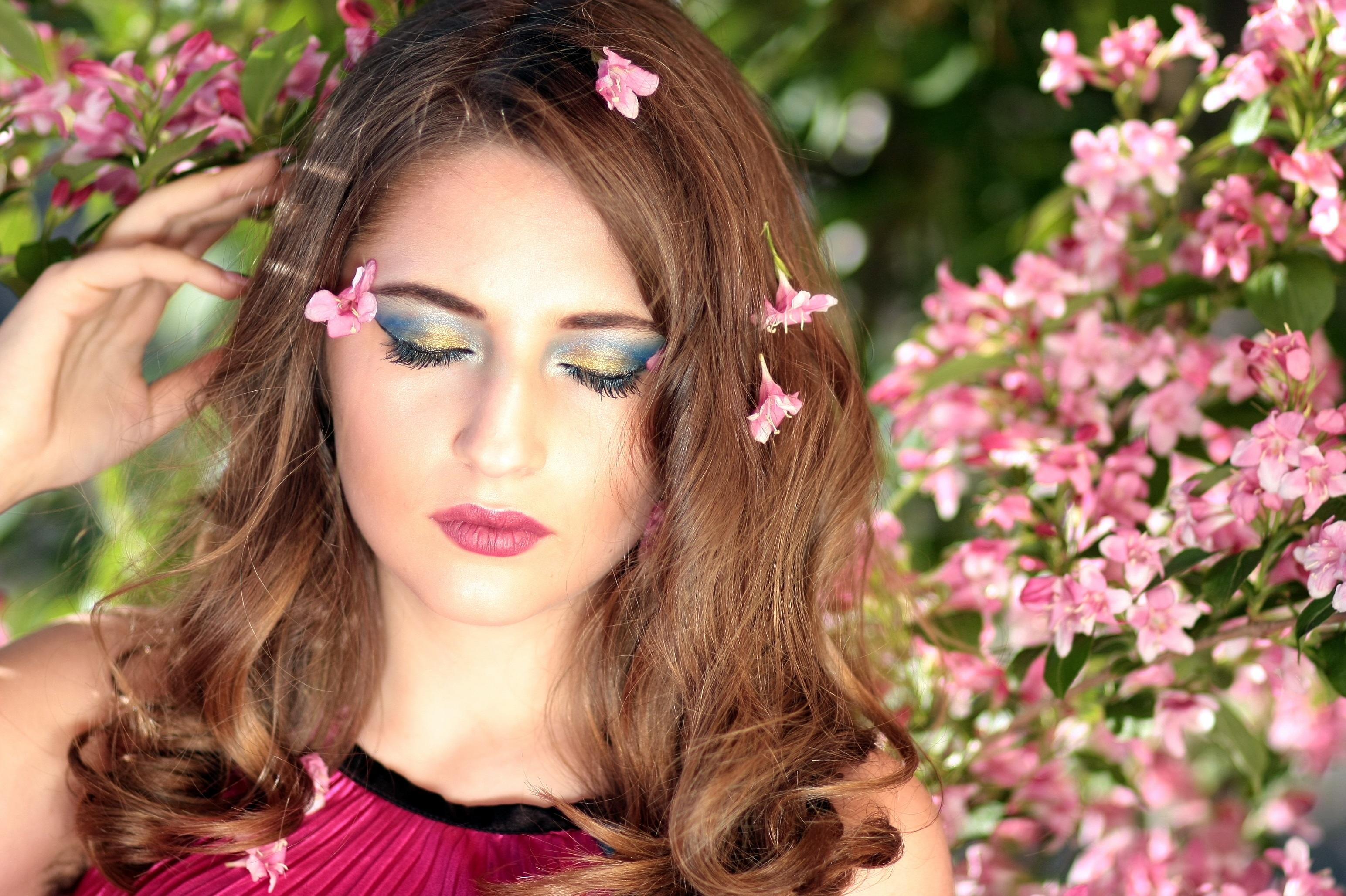 Beautiful brunette girl in spring season HD Wallpaper