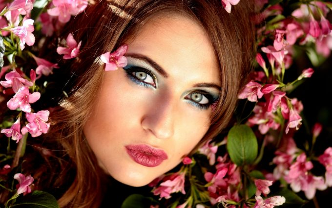 Beautiful brunette woman in spring season
