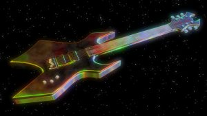 Colorful Electric Guitar In Space 4K