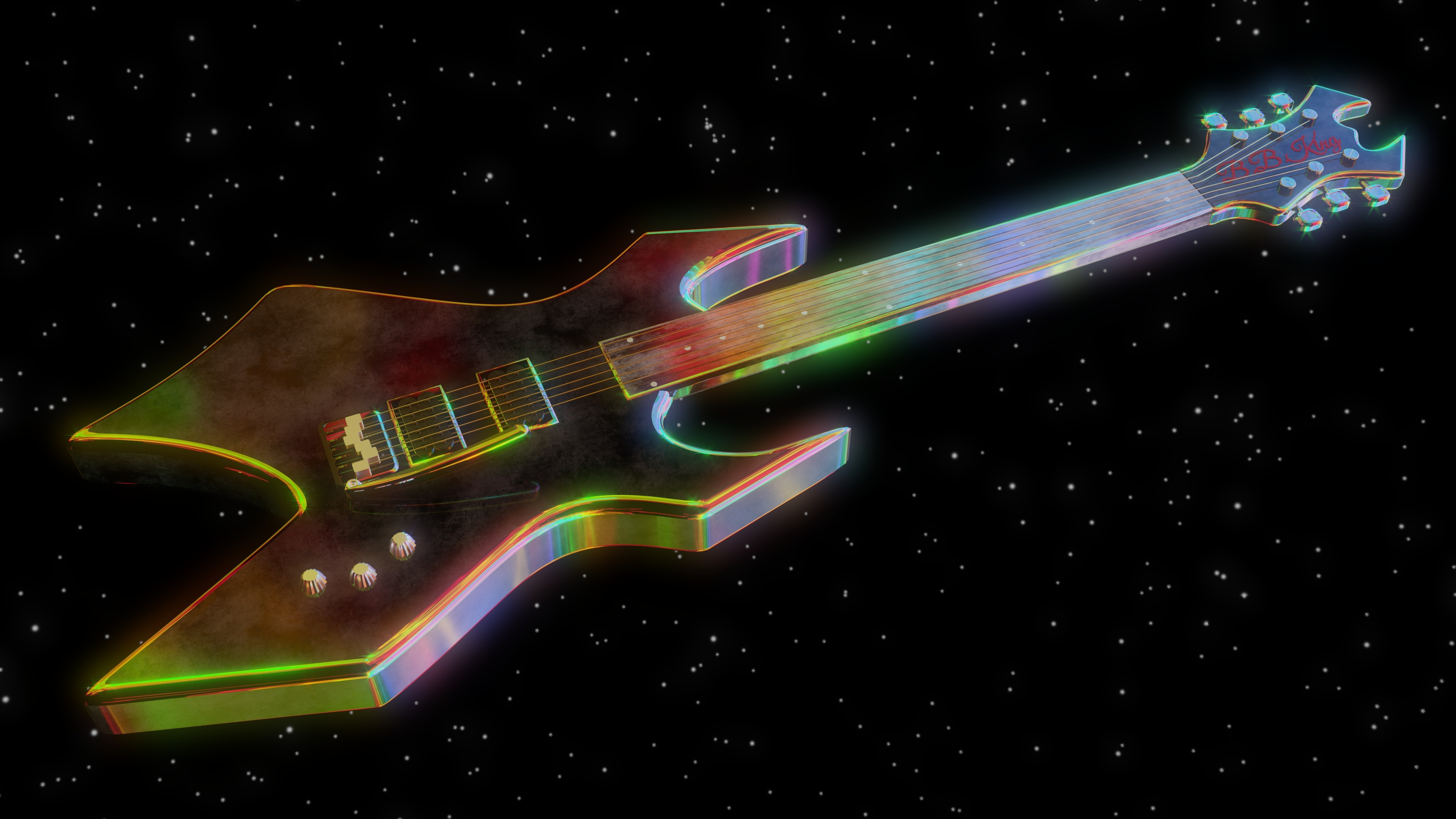 Colorful Electric Guitar In Space 4k Uhd Wallpaper