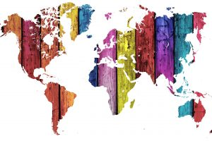 Colorful Wood Texture On The World Map