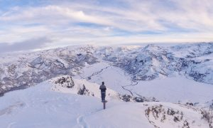 Contemplation of snowy mountains 4K