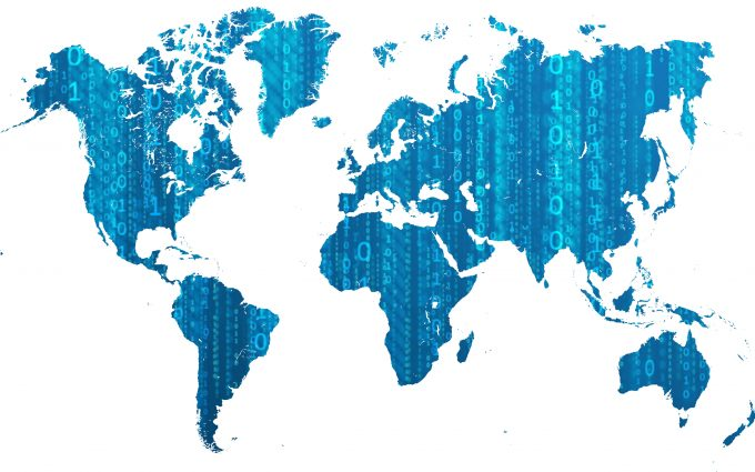 Digital World Map With Binary Numbers 01