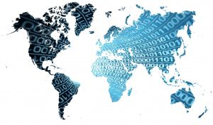 Digital World Map With Binary Numbers (Blue) 5K