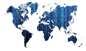 Digital World Map With Binary Numbers (Dark Blue) 8K
