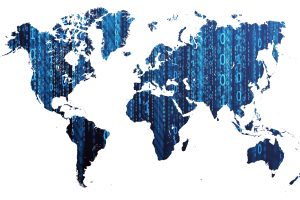 Digital World Map With Binary Numbers (Dark Blue) 8K