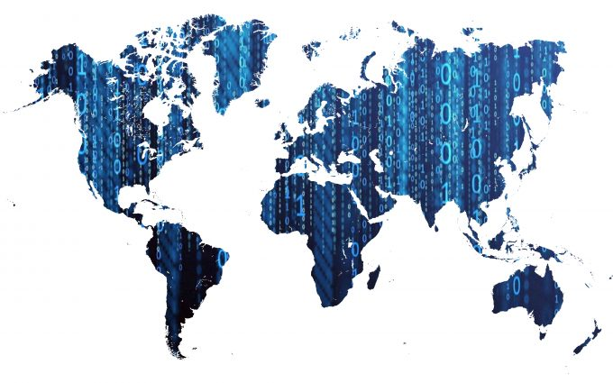 Digital World Map With Binary Numbers 8K