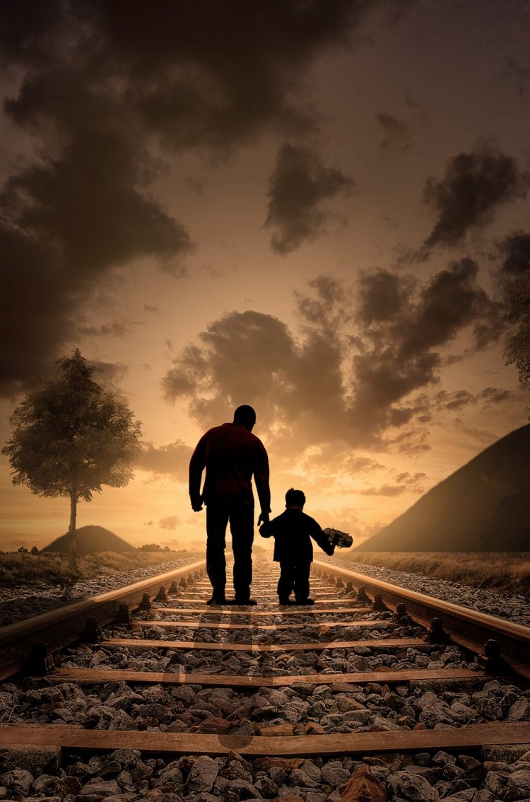 Father And Son At Nightfall Hd Wallpaper