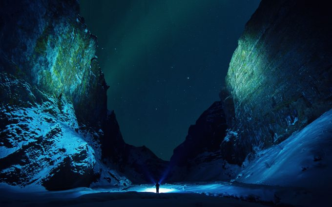 Night Exploration In A Snowy Corridor 4K