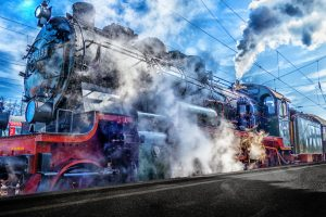 Steam Locomotive At Railway Station 4K