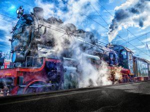 Steam Locomotive At Railway Station 4K