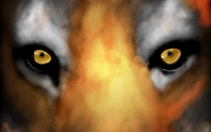 Tiger Face Digital Painting