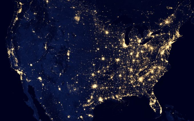 View Of United States From Space At Night