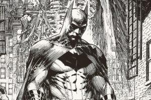 Batman Drawing Black and White 4K
