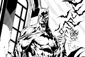Batman Drawing (Black and White) 6K