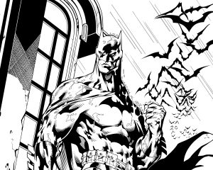 Batman Drawing (Black and White) 6K