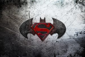 Batman v Superman Dawn of Justice Logo On Scratched Background 4K