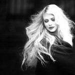 Gorgeous woman with blonde hair black and white 4k