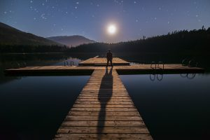 Man Contemplating Stars In British Columbia