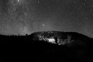 Man Looking At The Starry Sky (B&W) HD