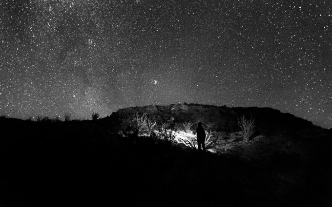 Man Looking At The Starry Sky Black and White HD