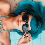 Pretty Woman Blue Hair Sunglasses Summer 4K Ultra HD