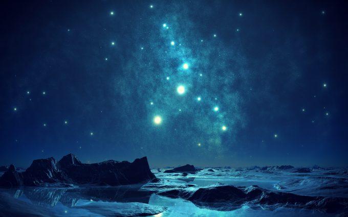 Alien Planet Blue Milky Way HD