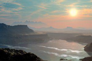 Alien Planet Mountains Lake Sun HD