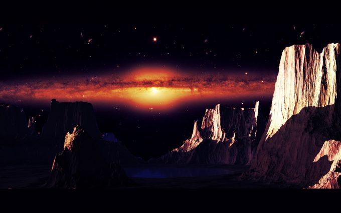Alien Planet Red Galaxy HD