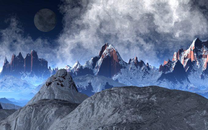 Alien Planet Snowy Mountains 5K
