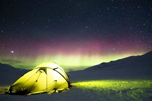 Aurora Borealis Above A Winter Camping Tent 5K