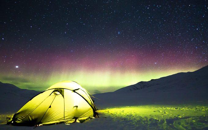 Aurora Borealis Above A Winter Camping Tent 5K