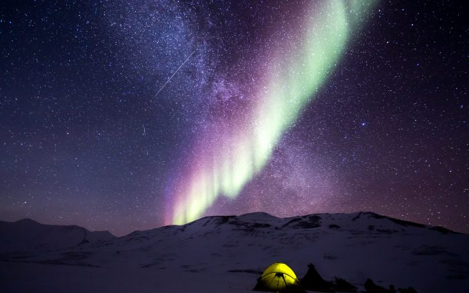 Aurora Borealis And Milky Way Above A Camp In The Snow 5K