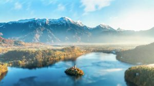 Bled, Snowy Mountains, Lake, Slovenia HD