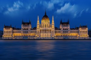 Hungarian Parliament Building At Nightfall HD