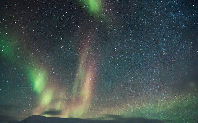 Milky Way With Aurora Borealis Over Mountains 5K