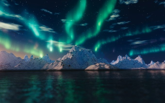 Northern Lights Over Snowy Mountains HD