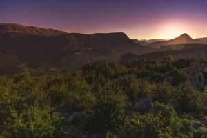 Sunset Over The Mountains Verdon Gorge France 5K