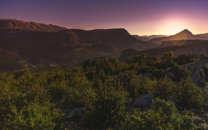 Sunset Over The Mountains Verdon Gorge France 5K